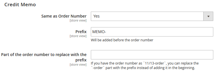 Custom Order Number Credit Memo Configuration