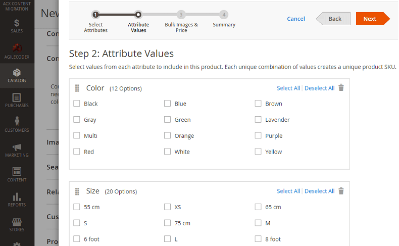 A typical Configurable product in Magento